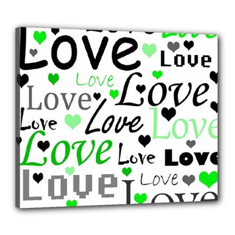 Green  Valentine s Day Pattern Canvas 24  X 20  by Valentinaart
