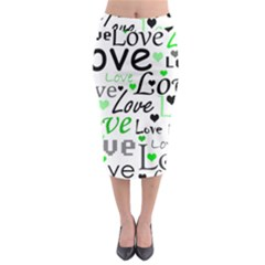 Green  Valentine s day pattern Midi Pencil Skirt by Valentinaart