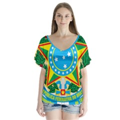 Coat Of Arms Of Brazil, 1968 1971 Flutter Sleeve Top