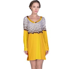 Beer Foam Yellow Long Sleeve Nightdress by AnjaniArt
