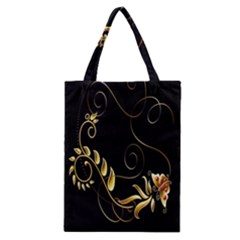 Butterfly Black Golden Classic Tote Bag by AnjaniArt