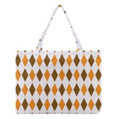Brown Orange Retro Diamond Copy Medium Tote Bag by AnjaniArt