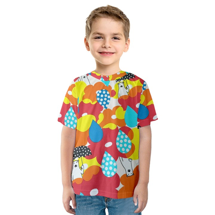 Bear Umbrella Kids  Sport Mesh Tee