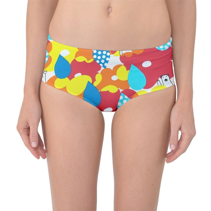 Bear Umbrella Mid-Waist Bikini Bottoms