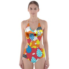 Bear Umbrella Cut Out One Piece Swimsuit