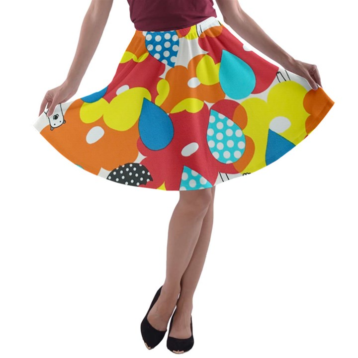 Bear Umbrella A-line Skater Skirt