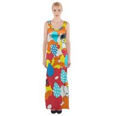 Bear Umbrella Maxi Thigh Split Dress