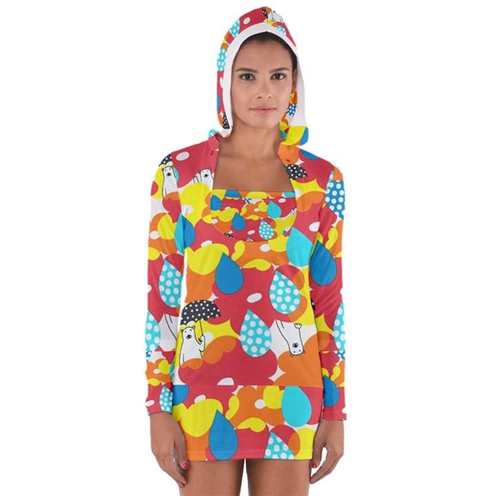 Bear Umbrella Women s Long Sleeve Hooded T-shirt