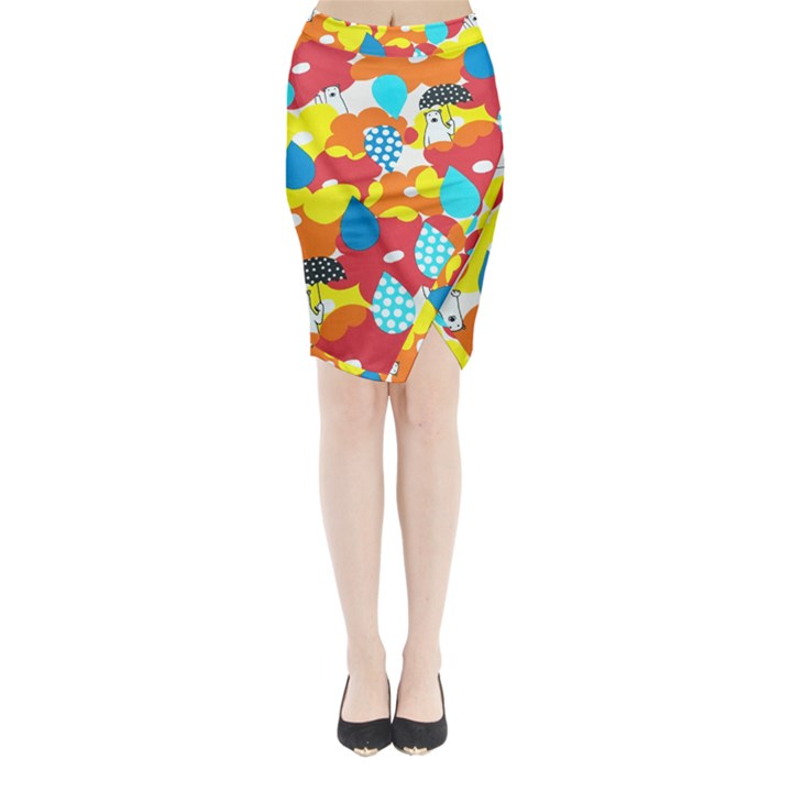 Bear Umbrella Midi Wrap Pencil Skirt