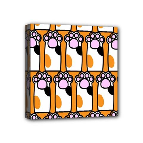 Cute Cat Hand Orange Mini Canvas 4  x 4