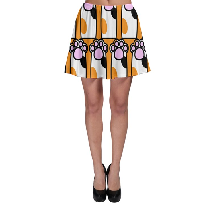 Cute Cat Hand Orange Skater Skirt