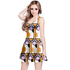 Cute Cat Hand Orange Reversible Sleeveless Dress