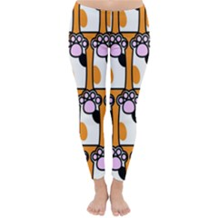 Cute Cat Hand Orange Classic Winter Leggings