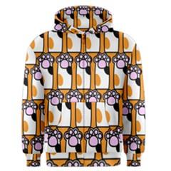 Cute Cat Hand Orange Men s Zipper Hoodie