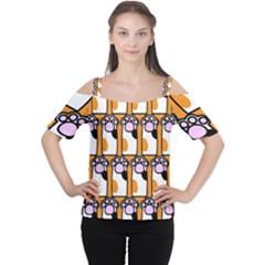 Cute Cat Hand Orange Women s Cutout Shoulder Tee