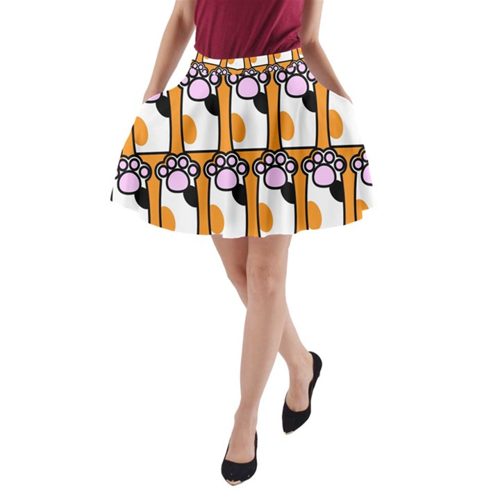 Cute Cat Hand Orange A-Line Pocket Skirt