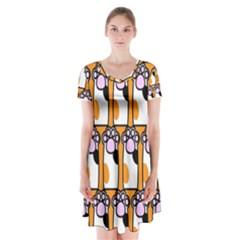 Cute Cat Hand Orange Short Sleeve V Neck Flare Dress
