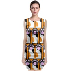 Cute Cat Hand Orange Classic Sleeveless Midi Dress by AnjaniArt