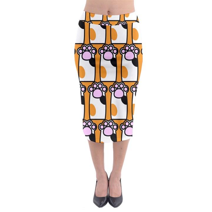 Cute Cat Hand Orange Midi Pencil Skirt
