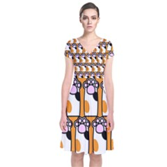 Cute Cat Hand Orange Short Sleeve Front Wrap Dress