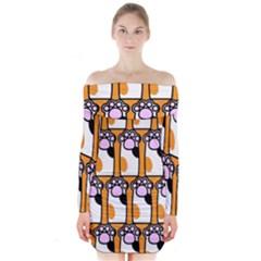 Cute Cat Hand Orange Long Sleeve Off Shoulder Dress