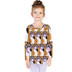 Cute Cat Hand Orange Kids  Long Sleeve Tee