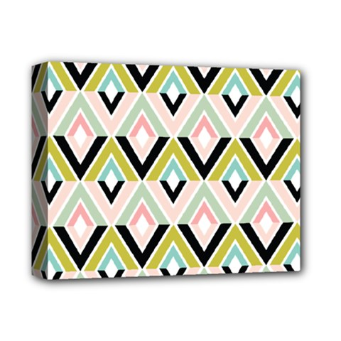 Chevron Pink Green Copy Deluxe Canvas 14  X 11  by AnjaniArt