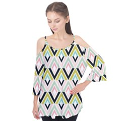 Chevron Pink Green Copy Flutter Tees by AnjaniArt
