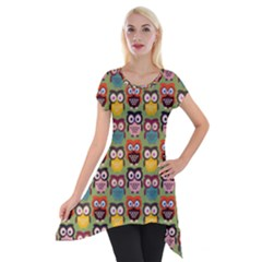 Eye Owl Colorful Cute Animals Bird Copy Short Sleeve Side Drop Tunic by AnjaniArt
