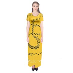 Yellow Soles Of The Feet Short Sleeve Maxi Dress by AnjaniArt
