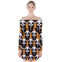 Halloween Night Cute Panda Orange Long Sleeve Off Shoulder Dress by AnjaniArt