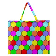 Hexagonal Tiling Zipper Large Tote Bag by AnjaniArt