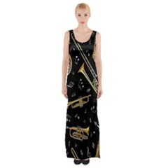 Instrument Saxophone Jazz Maxi Thigh Split Dress by AnjaniArt
