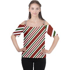 Line Christmas Stripes Women s Cutout Shoulder Tee by AnjaniArt