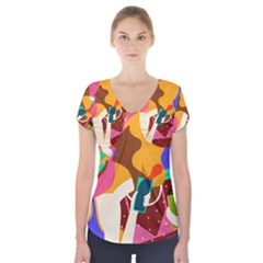 Girl Colorful Copy Short Sleeve Front Detail Top by AnjaniArt