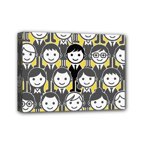 Man Girl Face Standing Mini Canvas 7  X 5  by AnjaniArt