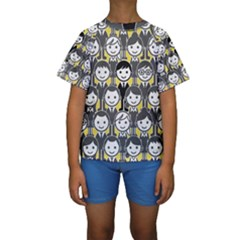 Man Girl Face Standing Kids  Short Sleeve Swimwear by AnjaniArt