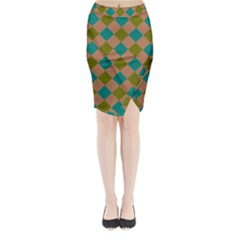 Plaid Box Brown Blue Midi Wrap Pencil Skirt by AnjaniArt