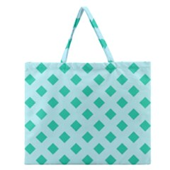 Plaid Blue Box Zipper Large Tote Bag by AnjaniArt