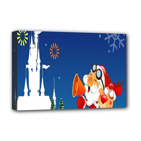 Santa Claus Reindeer Horn Castle Trees Christmas Holiday Deluxe Canvas 18  X 12   by AnjaniArt
