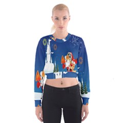 Santa Claus Reindeer Horn Castle Trees Christmas Holiday Women s Cropped Sweatshirt by AnjaniArt