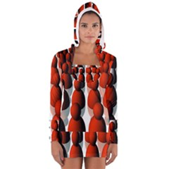 Red White Women s Long Sleeve Hooded T Shirt by AnjaniArt