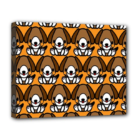 Sitbeagle Dog Orange Deluxe Canvas 20  X 16   by AnjaniArt