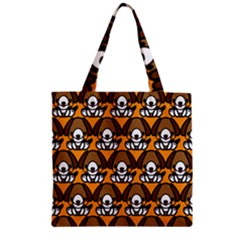 Sitbeagle Dog Orange Zipper Grocery Tote Bag by AnjaniArt
