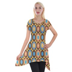 Round Color Short Sleeve Side Drop Tunic by AnjaniArt