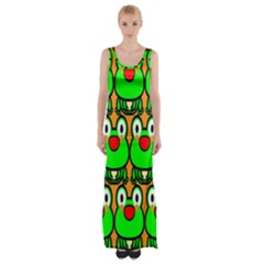 Sitfrog Orange Face Green Frog Copy Maxi Thigh Split Dress by AnjaniArt