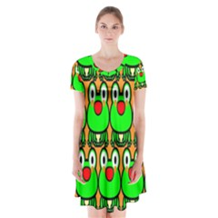 Sitfrog Orange Face Green Frog Copy Short Sleeve V-neck Flare Dress by AnjaniArt