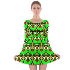 Sitfrog Orange Green Frog Long Sleeve Skater Dress