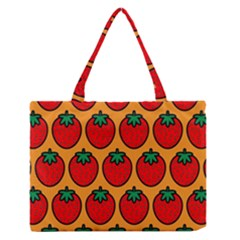 Strawberry Orange Medium Zipper Tote Bag by AnjaniArt