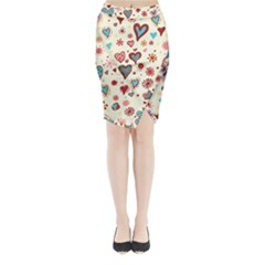 Valentine Heart Pink Love Midi Wrap Pencil Skirt by AnjaniArt